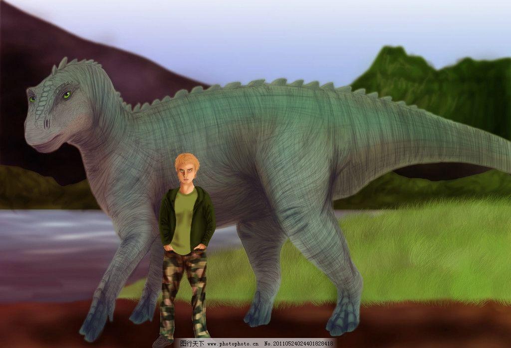 恐龙与男孩 卡通动物 漫画动物 恐龙 男孩 插画动物 动物设计图片