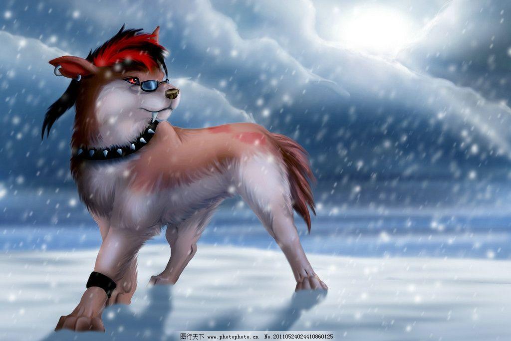 雪地酷狼 卡通动物 漫画动物 雪地上的狼 狼 酷狼 插画动物 动物设计