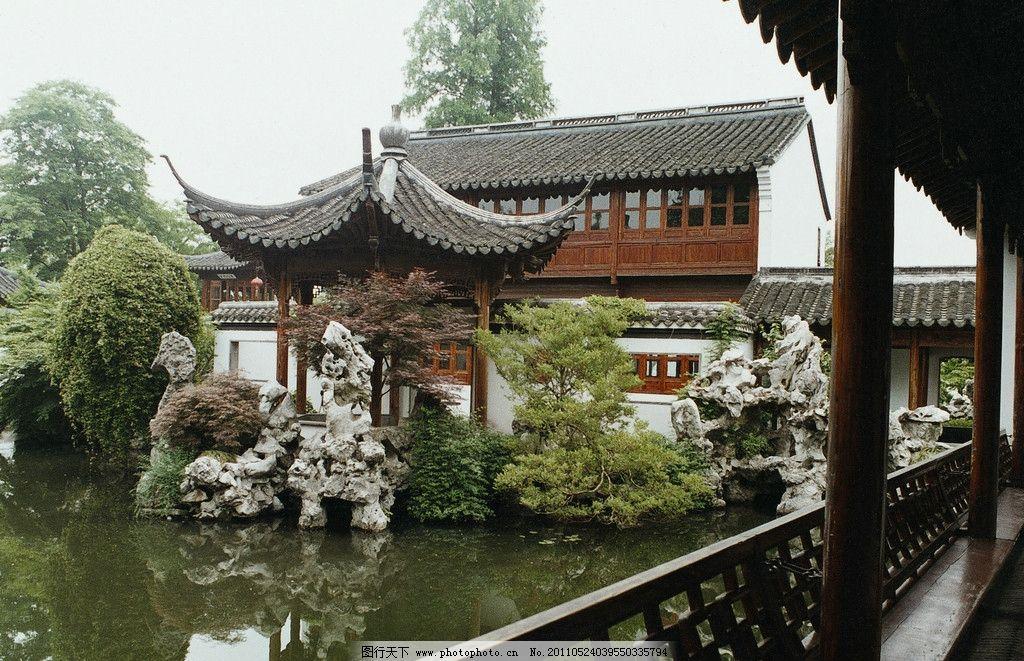 古典园林 亭子 假山 桥廊 水塘 树木 园林建筑 建筑园林 摄影