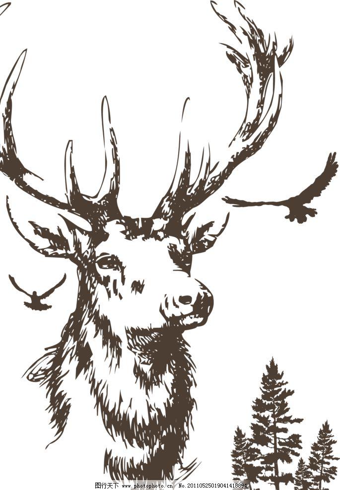 文艺手绘鹿角男头像