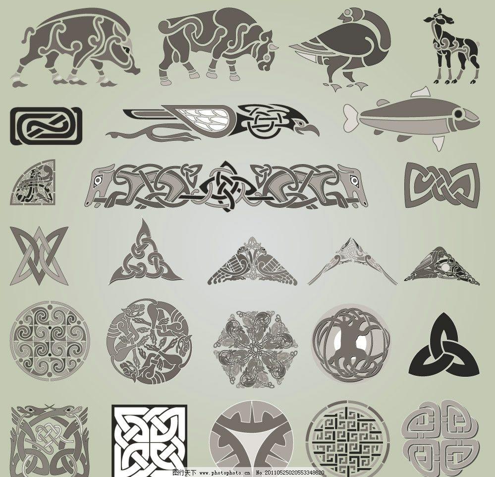线条花纹图案装饰设计矢量 图案 动物 海洋生物 装饰花纹 装饰花边