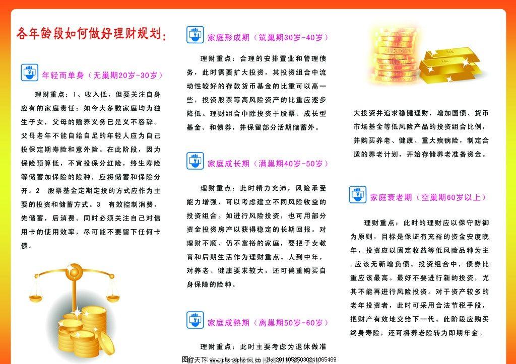 金融 理财 商务 三折页 宣传页 个人 基金 投资 金币 年龄段 手握钞票