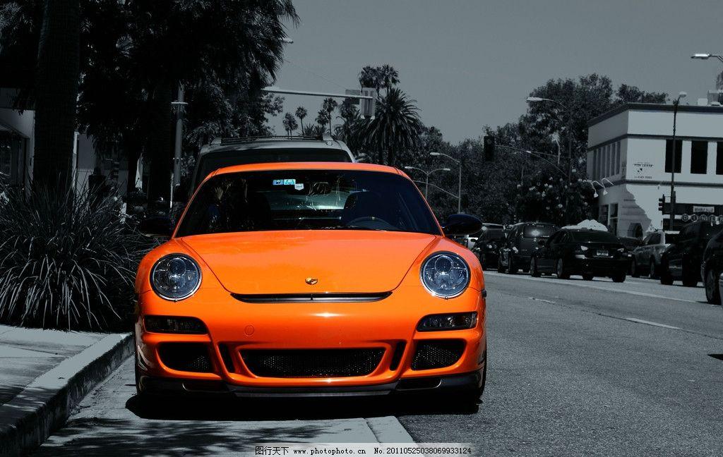 桔色的法拉利 汽车 交通工具 黑白 城市 法拉利 现代科技 摄影 72dpi