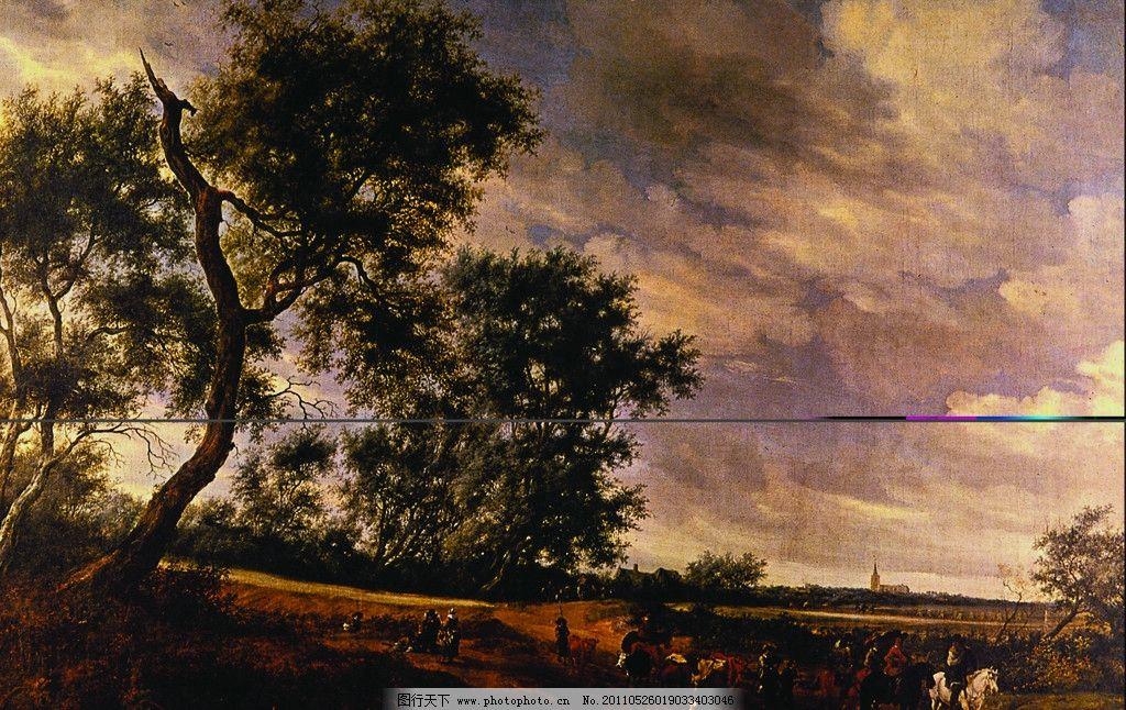 风景油画 树 天空 动物 马 绘画书法 文化艺术