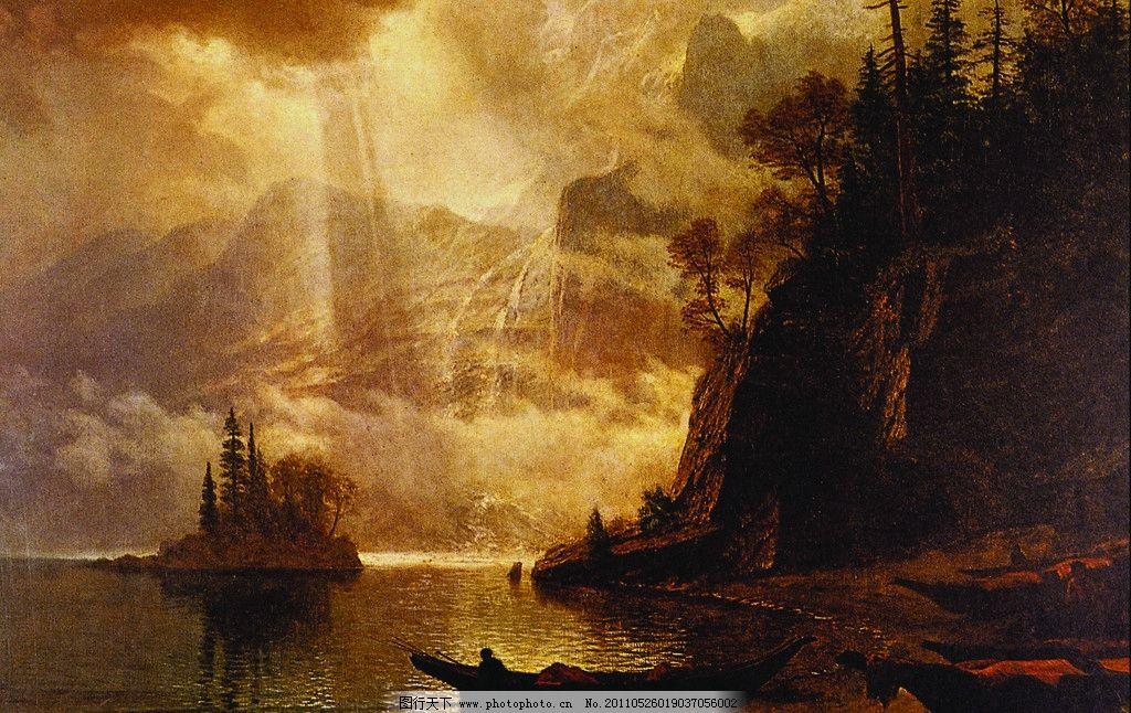 风景油画 风景 油画 海 沙滩 山 绘画书法 文化艺术 设计 72dpi jpg