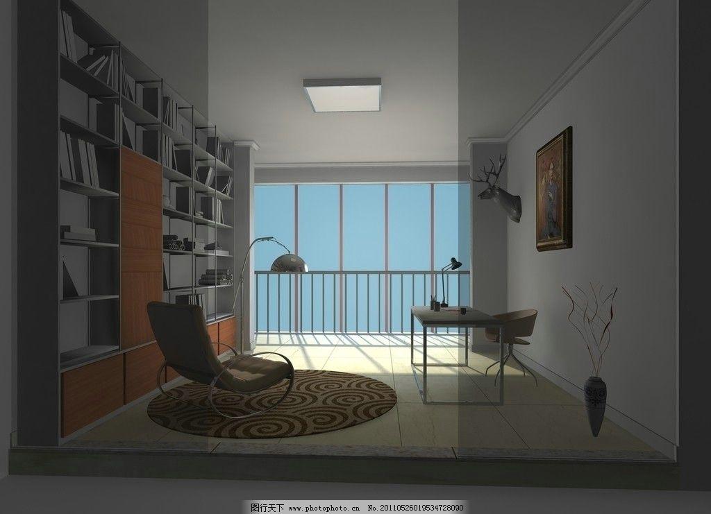 书房家装效果图 家居设计 室内 书架 落地窗        其他 节日素材 源