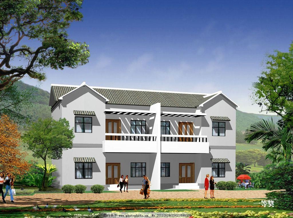 新式农居 楼房 人居环境 乡村 乡下 田园风光 建筑效果图 江西农村