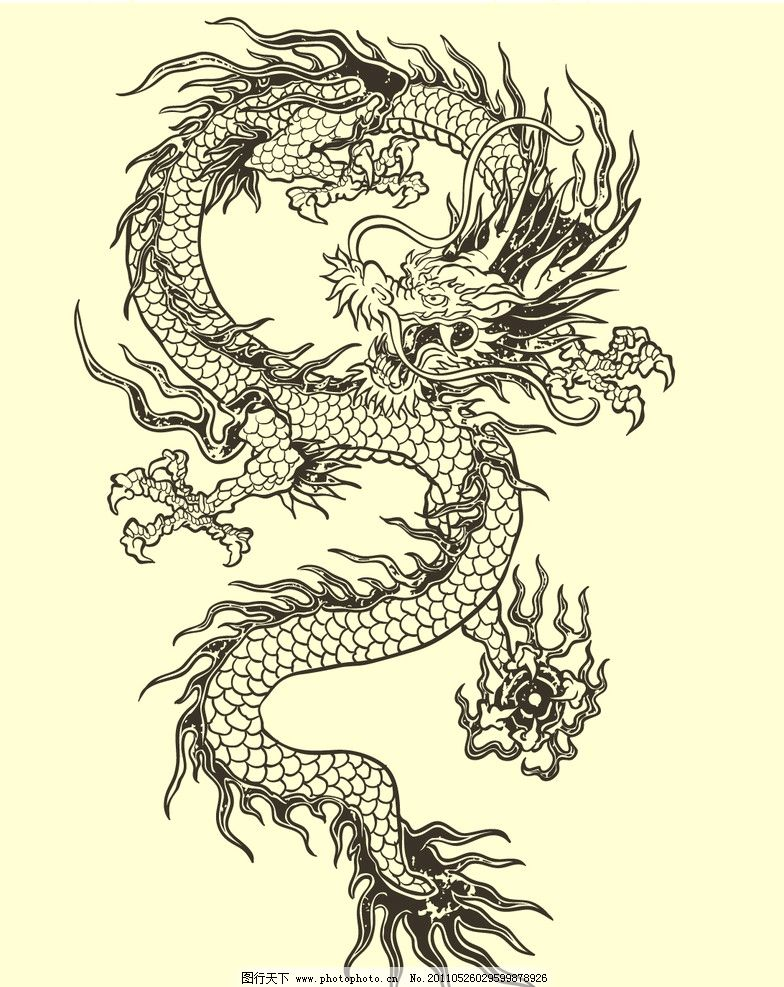 手绘龙花纹 花纹龙图案 纹身 纹身图案 龙 飞龙 龙纹身 神物 神话