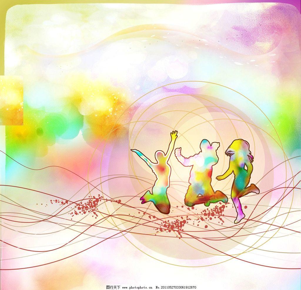 水彩人物剪影 彩色缤纷 线条 光圈 色彩人物 蜡笔色彩 手绘 颜料图片