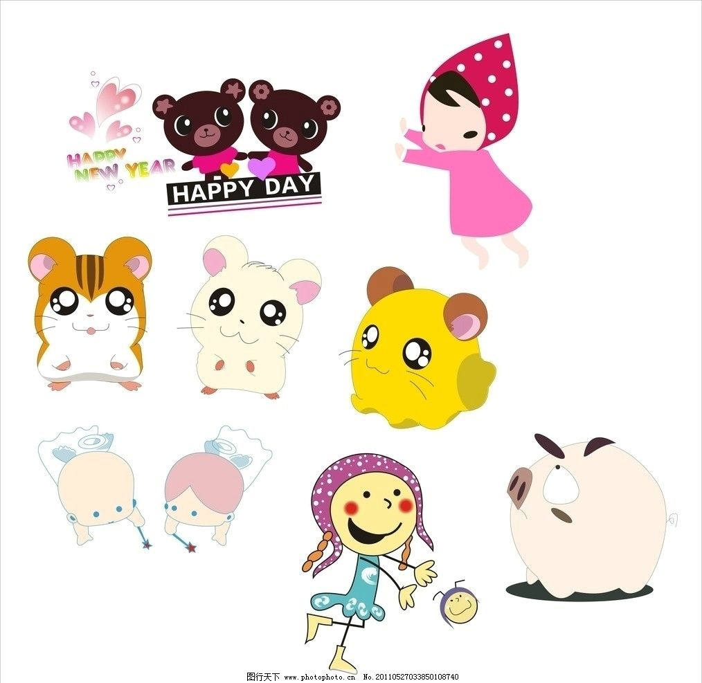 卡通图案 卡通 可爱 动物 小人 卡通人 猫 猪 矢量素材 其他矢量 矢量