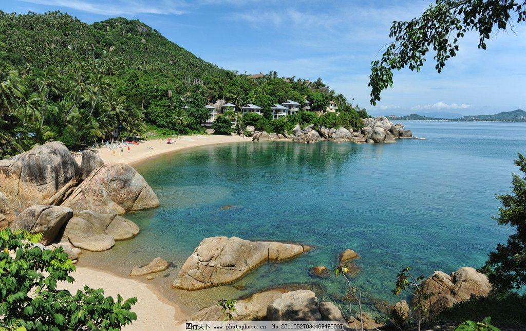 海滩 大海 沙滩 热带海滩 海边 椰子树 海水 风景 自然风光 蓝天 白云