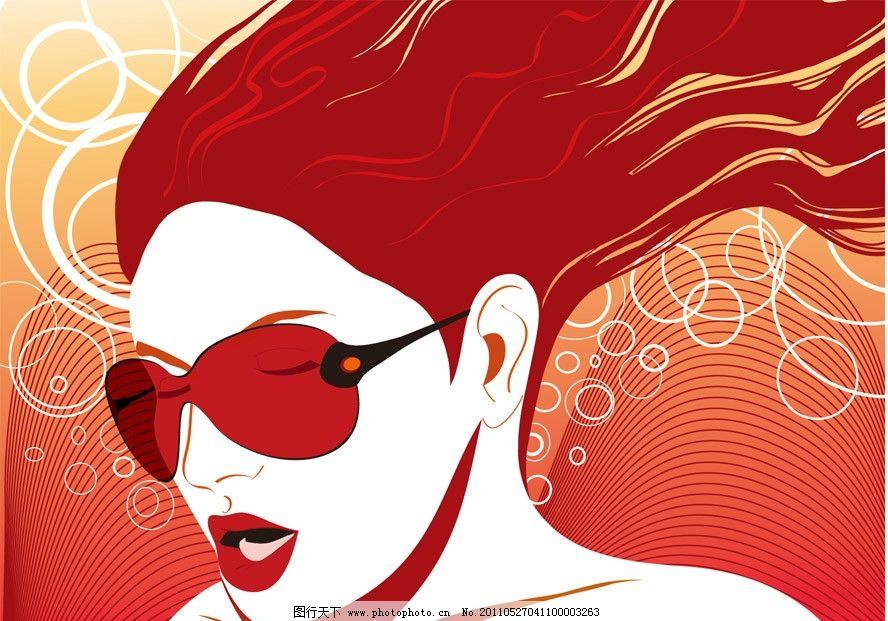 动感线条圈圈眼镜美女 花纹 秀发 头发 飘飘 飘逸 时尚美女 时尚女孩