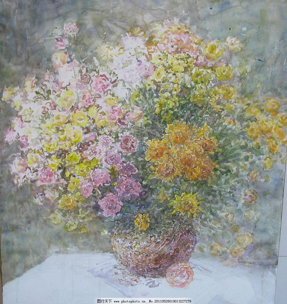 水彩花卉 花瓶 水彩 花卉 鲜花 水彩画 绘画书法 文化艺术 设计 180