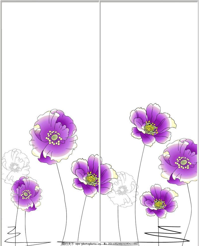 移门图案 紫色花 线条 移门 图案 白底移门 背景底纹 底纹边框 设计 3