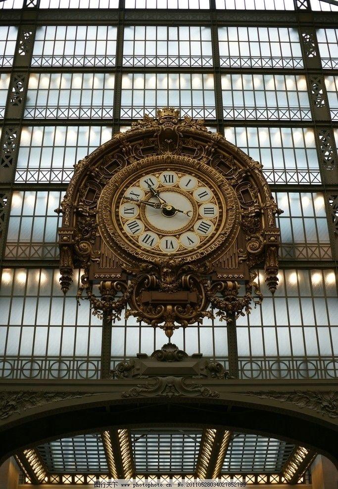 大钟表 金属 欧式 古典 罗马数字 法国 雕花 金色 指针 国外旅游 旅游