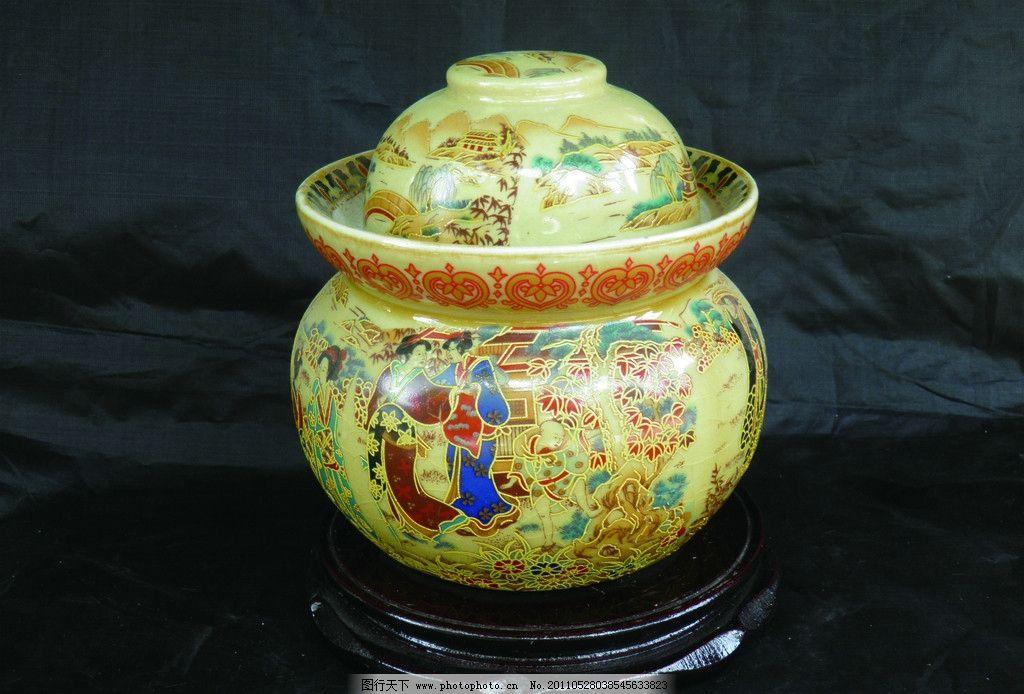 泡菜坛子 青花瓷罐子包装 金罐子 小罐子 实物罐子 古代瓷罐子