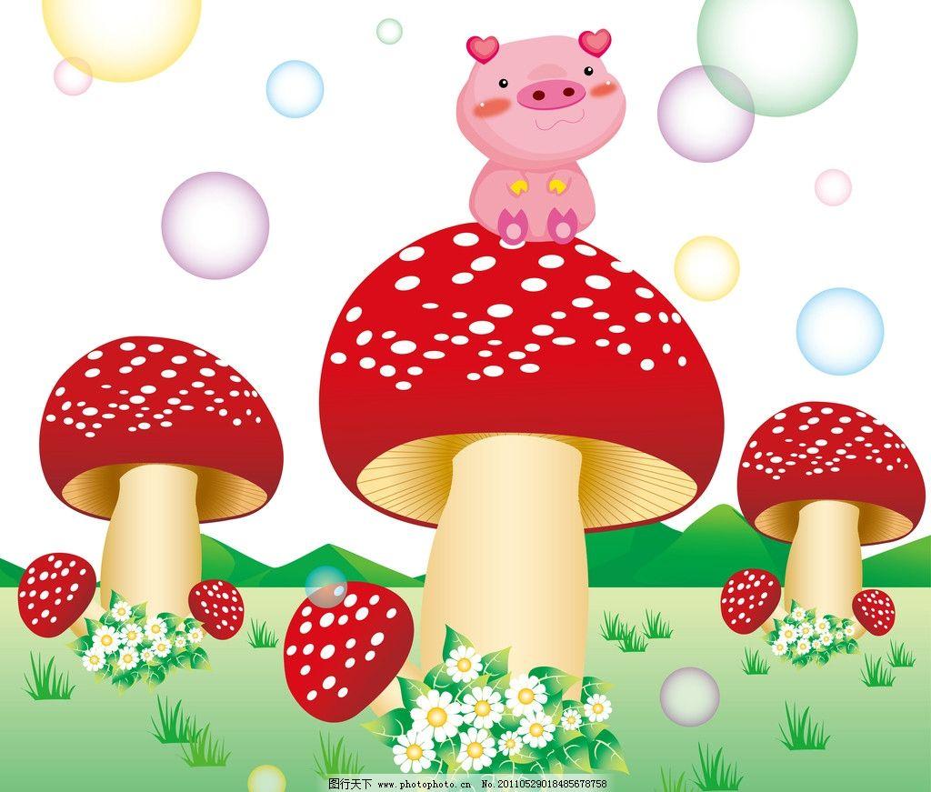 移门 小猪 卡通风景 蘑菇 野花 蒲公英 泡泡 气泡 小草 风景漫画 动漫