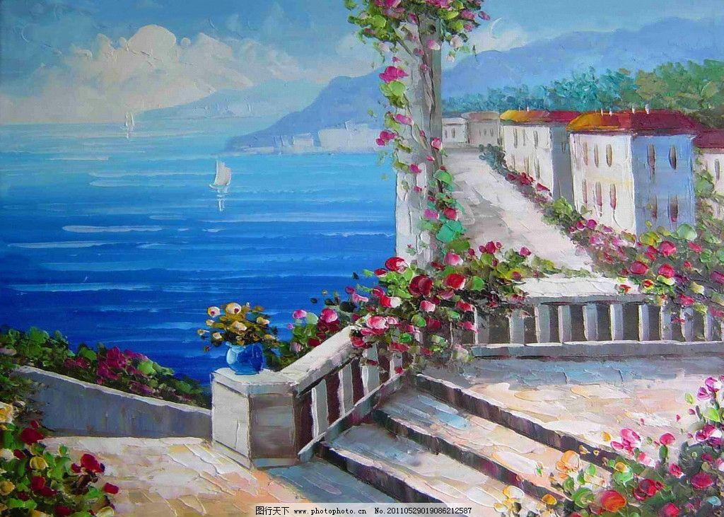 欧洲帆船风景油画