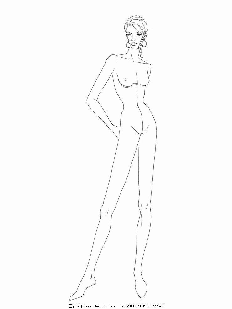 服装模特线稿图片,女性 效果图 绘画书法 文化艺术-图
