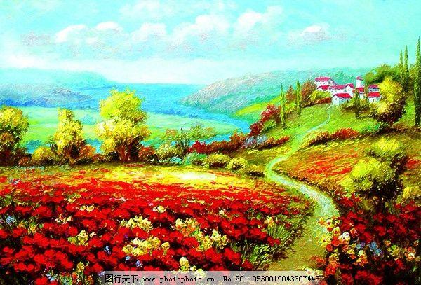 设计图库 文化艺术 绘画书法  风景油画 油画 树木 蓝天 草地 松树
