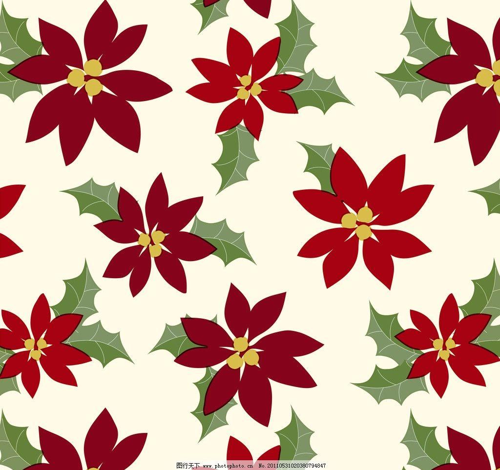 圣诞花 红花 绿叶 花边花纹 底纹边框 设计 254dpi jpg