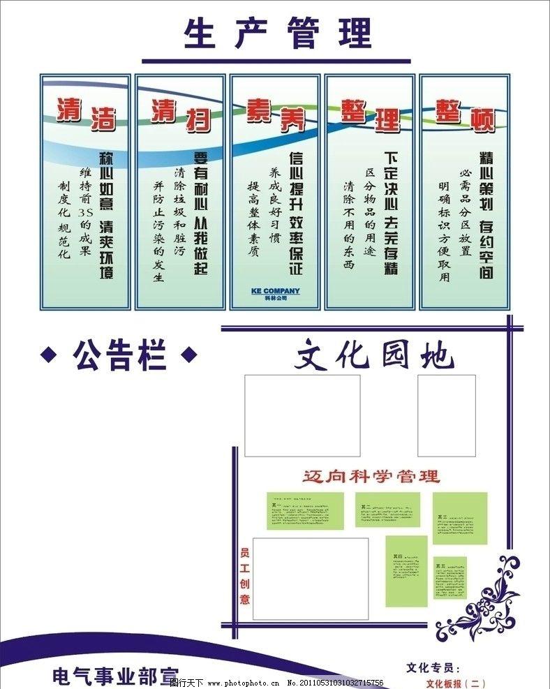 展板设计 模板 矢量 科学管理 板式 白板 板报 花边 边框 文化园地