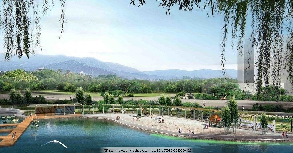 湖滨公园景观设计效果图psd分层模板图片