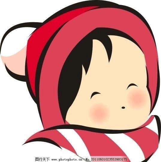 小女孩 可爱 红色 围巾 帽子 冬天 矢量人物