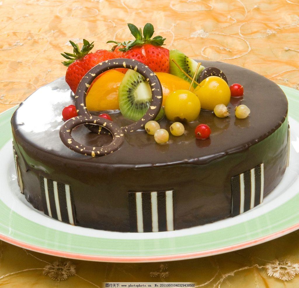镜面 巧克力 水果 蛋糕图片