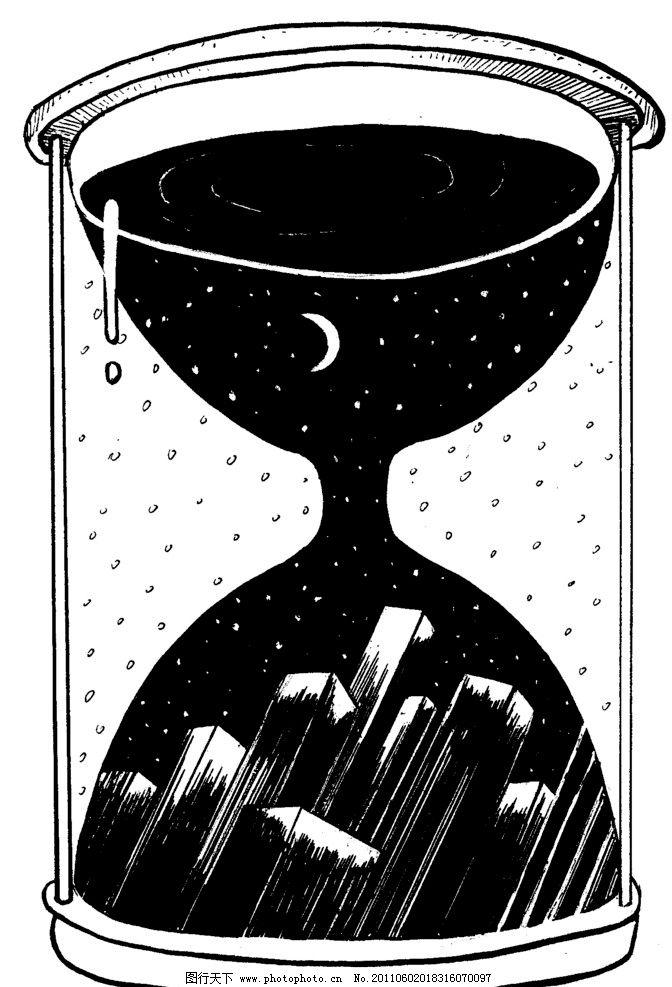 手绘漫画插图黑白 插画 黑白 沙漏 时间 手工漫画插图黑白 动漫人物