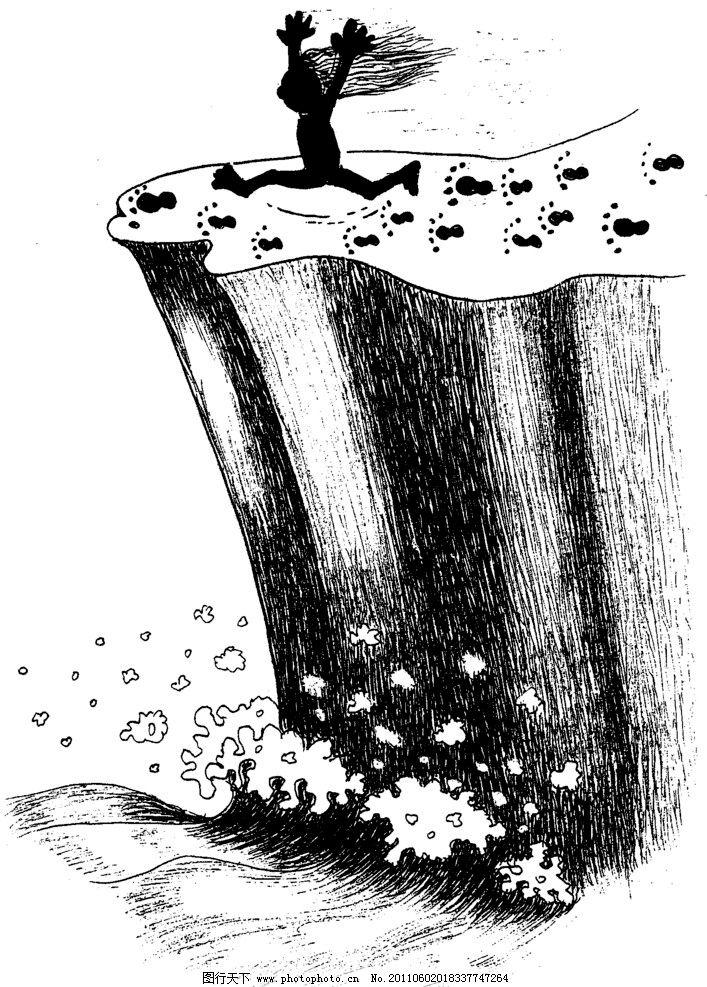 手绘漫画插图黑白 海岸