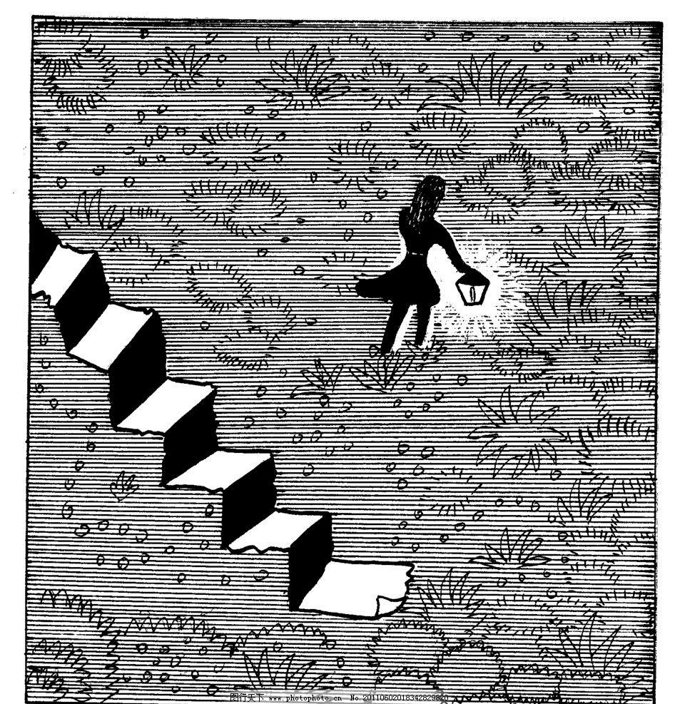 手绘漫画插图黑白 插画 感悟 黑白 野外 灯笼 楼梯 手工漫画插图黑白