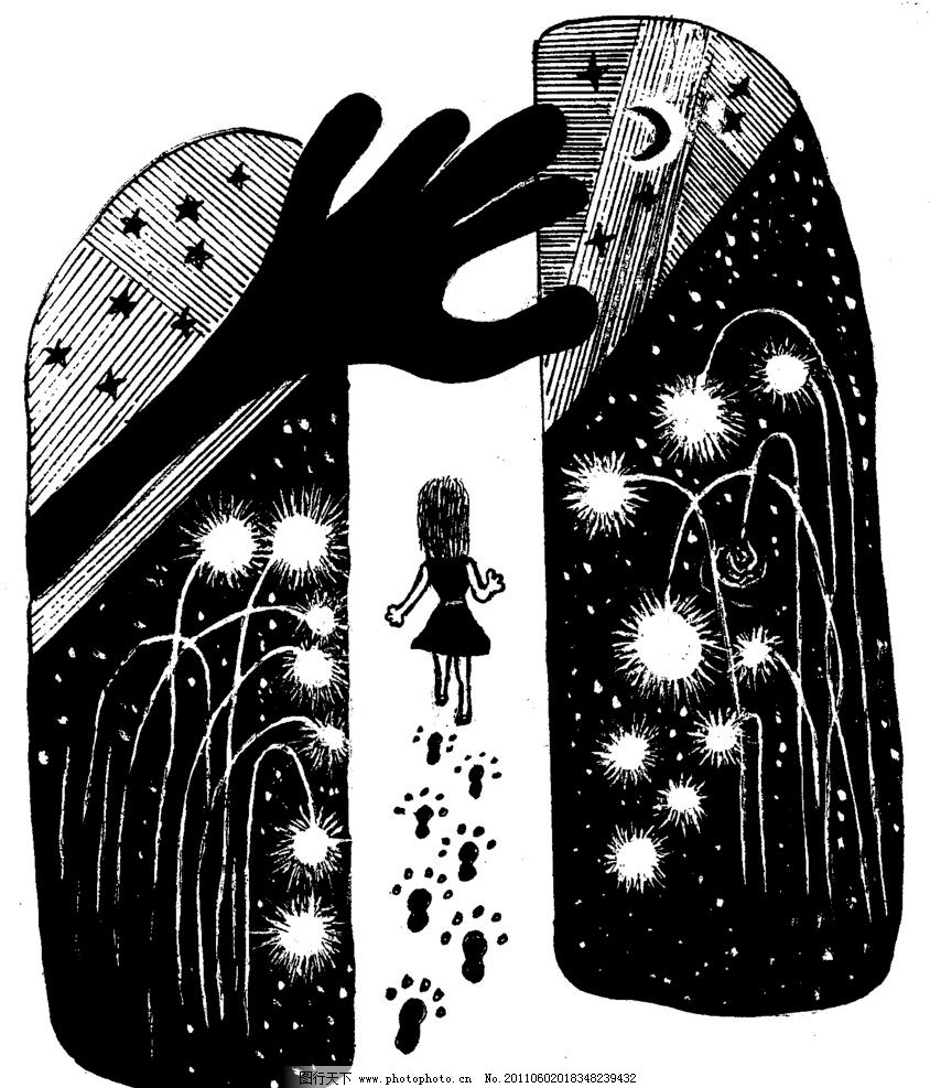 手绘漫画插图黑白 手掌 脚印 星星 月亮 女孩 手工漫画插图黑白