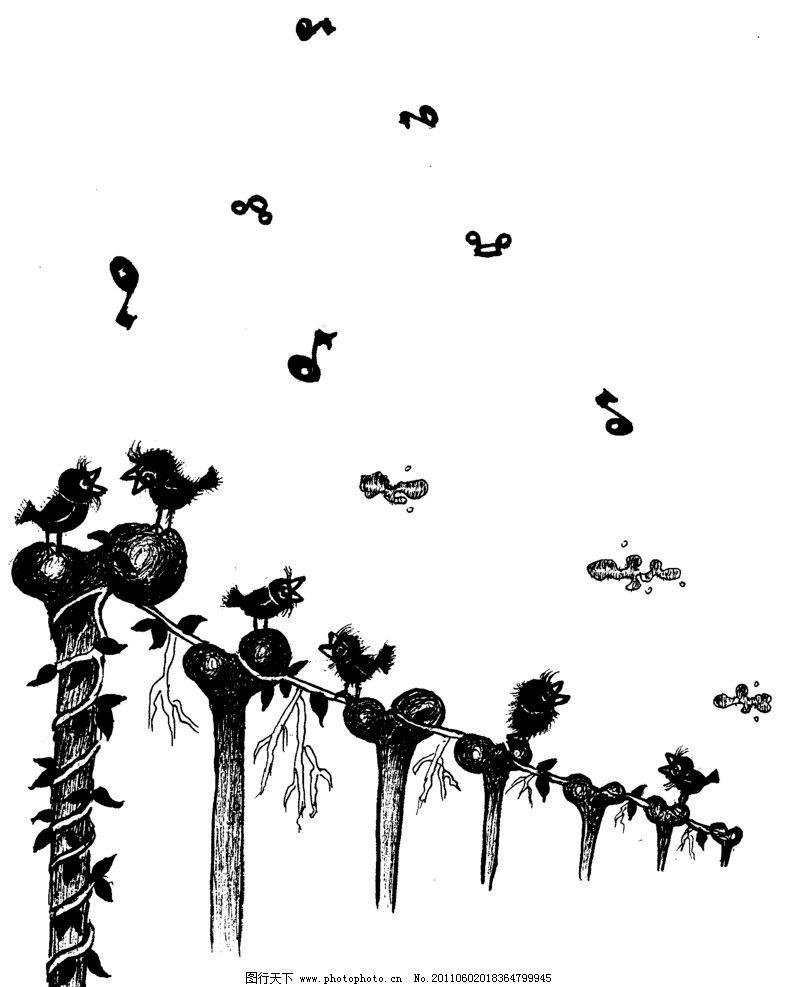 手绘漫画插图黑白 树林 飞鸟 手工漫画插图黑白 动漫人物 动漫动画