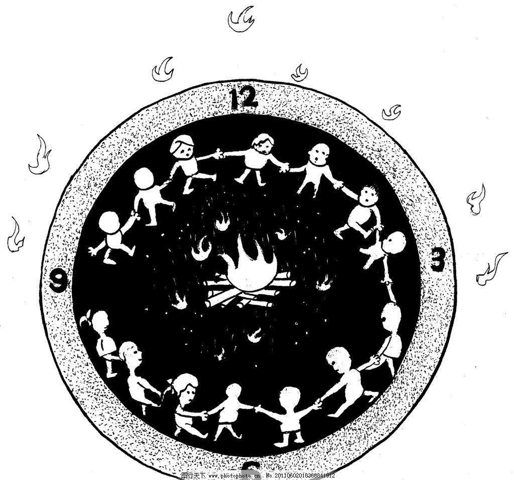 手绘漫画插图黑白 钟表