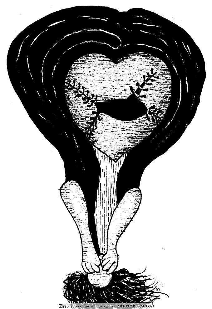 手绘漫画插图黑白图片