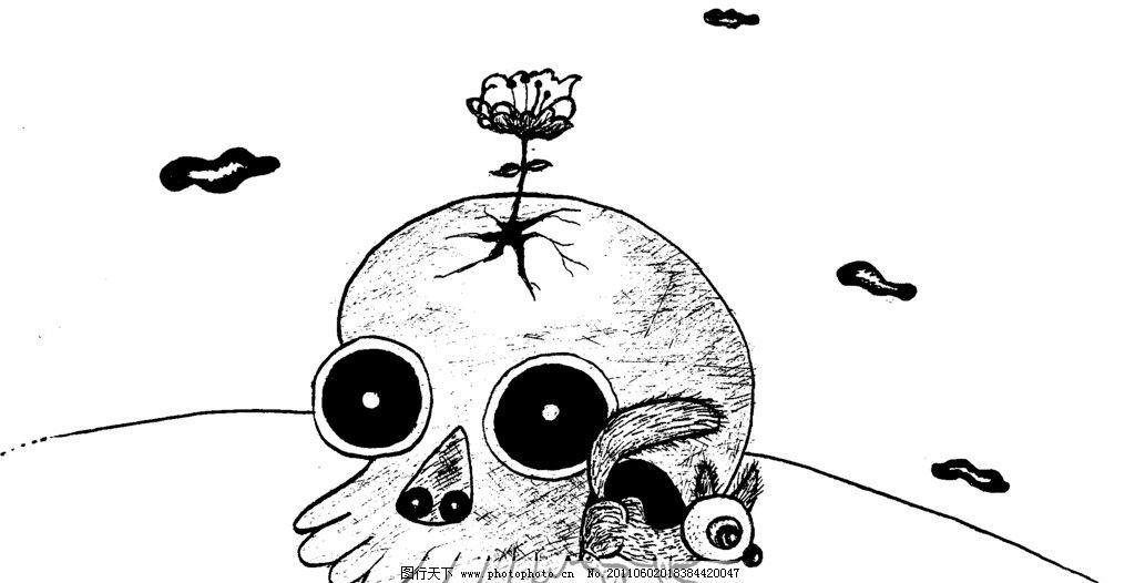 手绘漫画插图黑白 插画