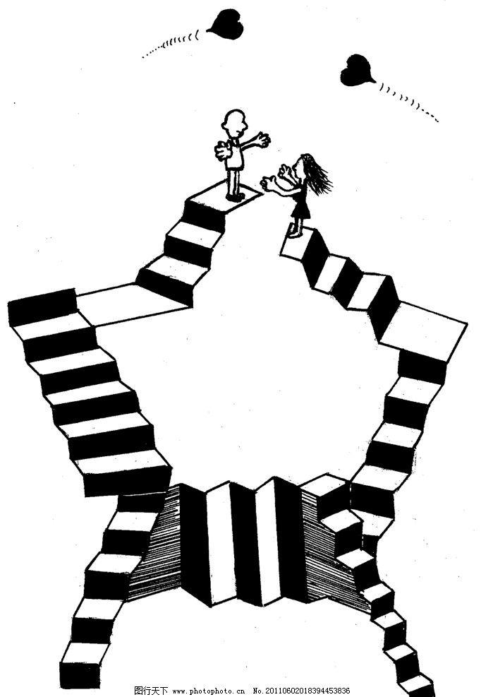手绘漫画插图黑白 高空