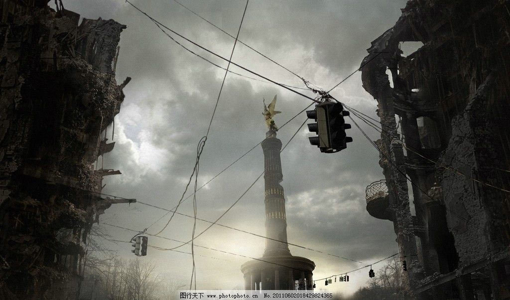 颓废城市 科幻 场景 颓废 城市 失落 风景漫画 动漫动画 设计 72dpi