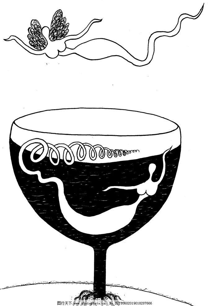 手绘漫画插图黑白 美酒 天使 酒杯 黑白 美人鱼 绘画书法 文化艺术 设