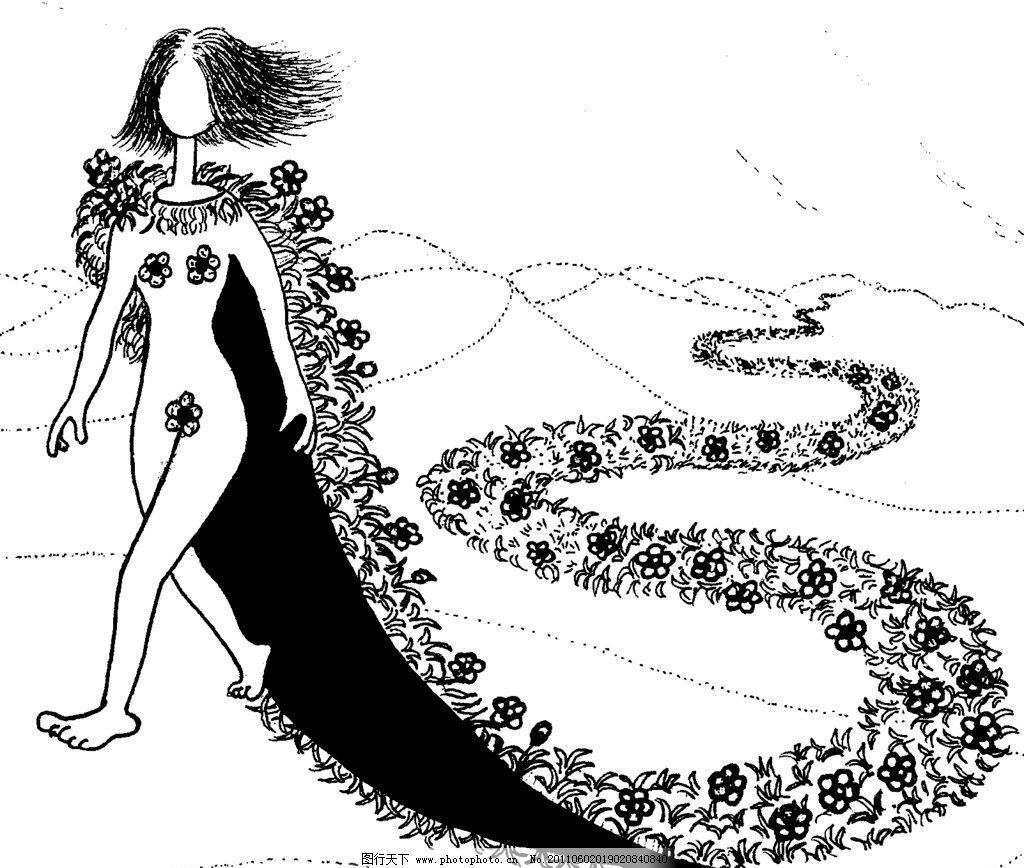 手绘漫画插图黑白 插画 黑白 女娲 披风 道路 绘画书法 文化艺术 设计