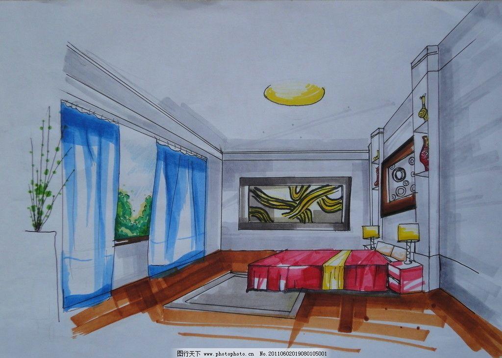 室内设计 卧室图片,木地板 蓝色窗帘 红床 植物 手绘