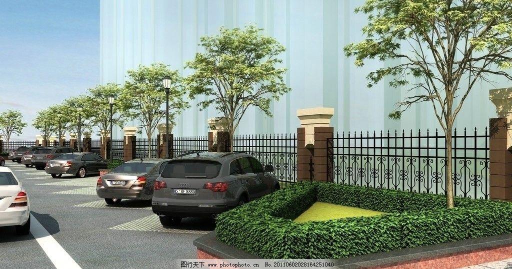 欧式景观入口围墙及停车场图片