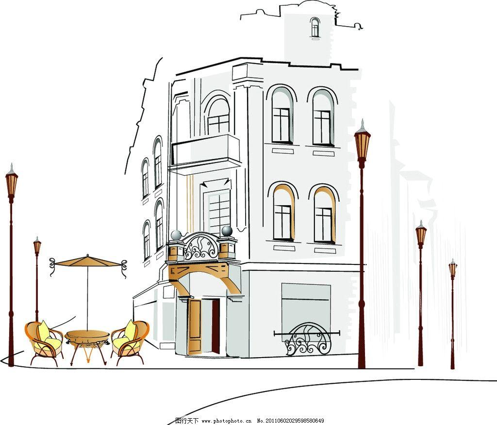 建筑 楼房 高楼 楼房线描 线描 欧式建筑 建筑线条 大街上 休闲生活