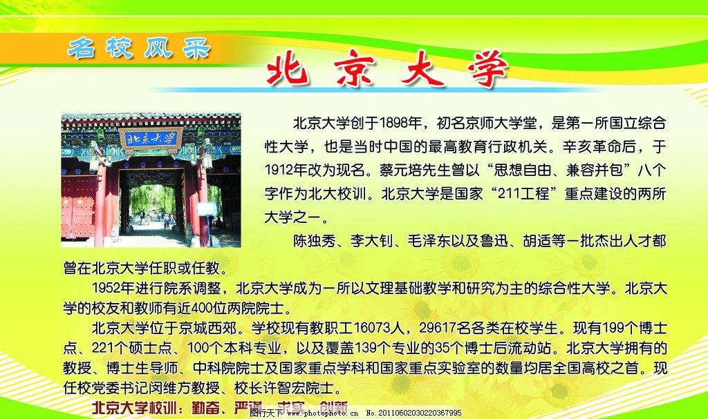 名校风采 北京大学 广告设计展板