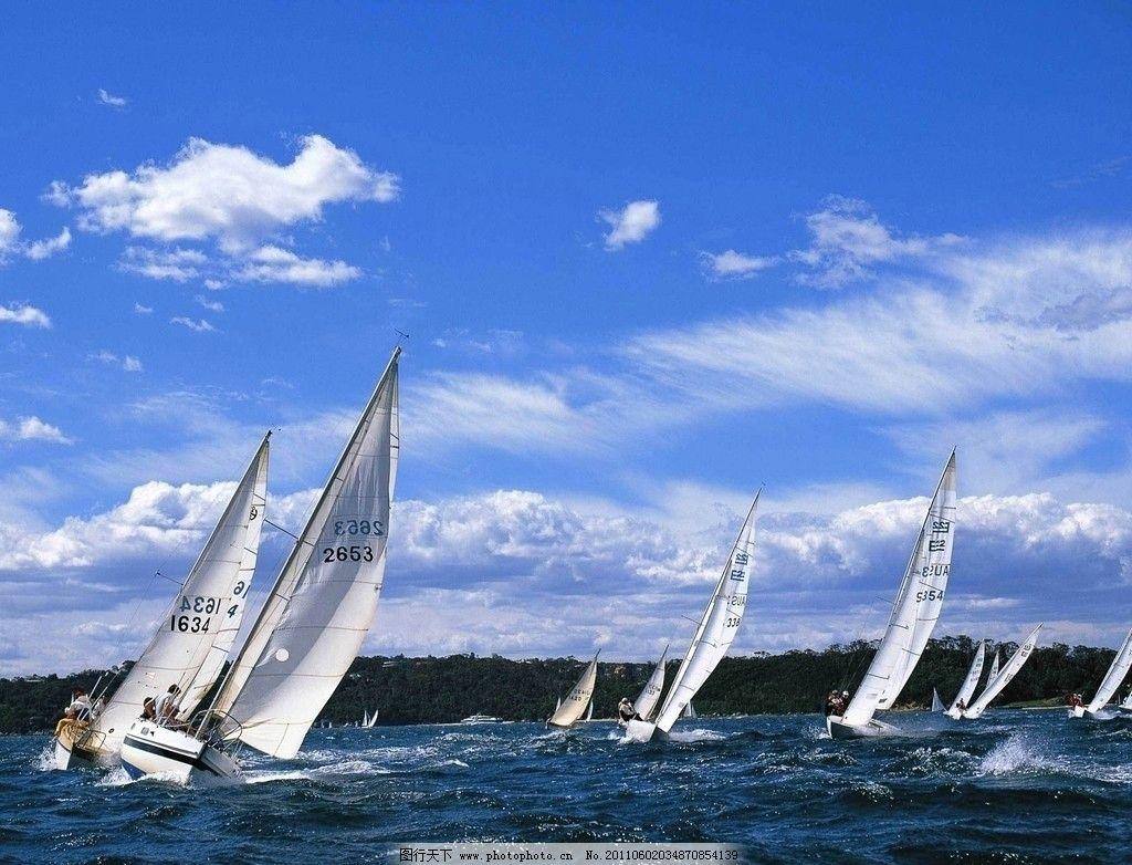 海上帆船 大海 蓝天 白云 帆船 自然风景 自然景观 摄影 72dpi jpg