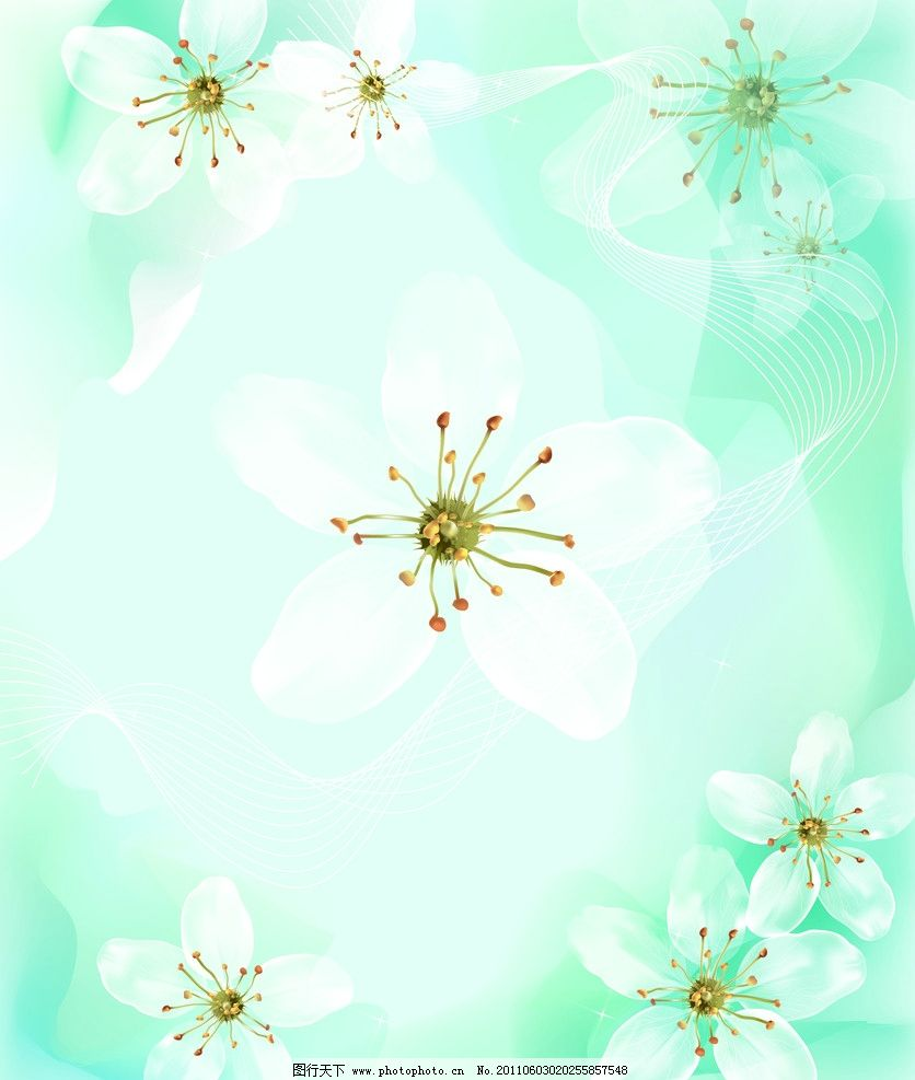 栀子花开 移门 白花 绿底 艺术玻璃 背景底纹 底纹边框 设计 72dpi