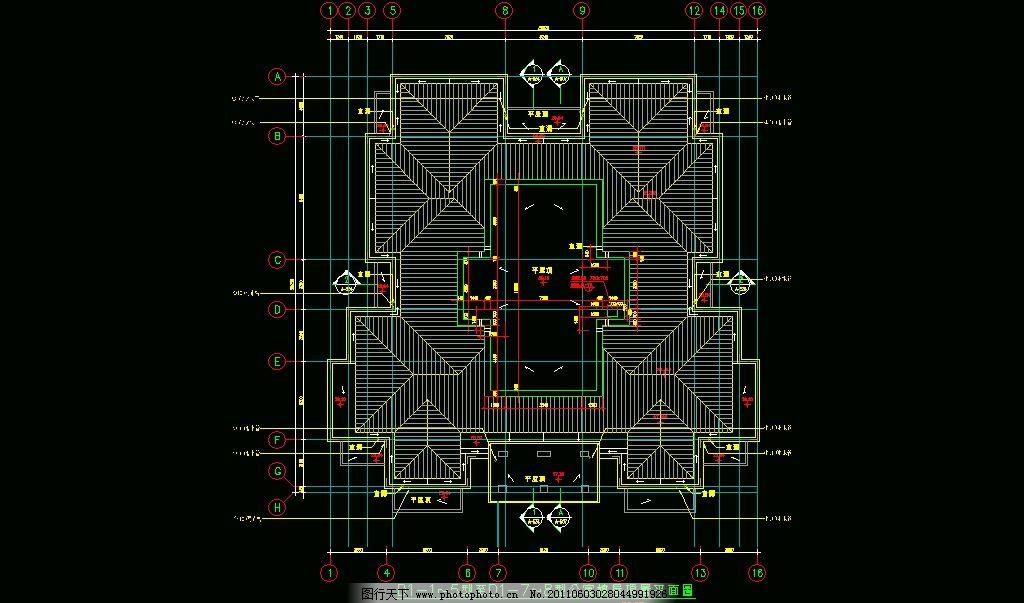 公寓楼屋顶层平面 cad dwg 图纸 平面图 素材 装修 装饰 施工图 立面