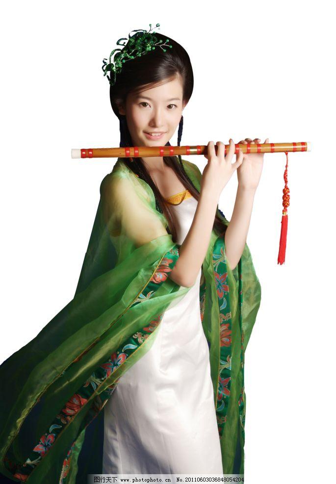 美女吹笛 七仙女 小妹 笛子 古典 美女 女性女人 人物图库 摄影 28dpi
