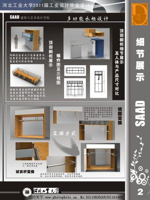 多功能衣柜设计展板素材